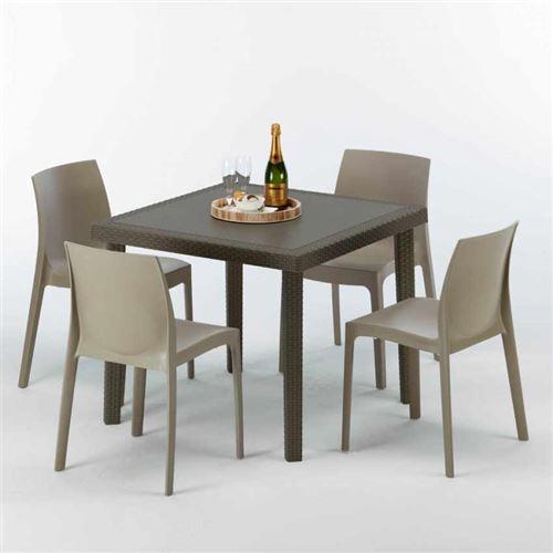 Table carrée et 4 chaises colorées Poly-rotin résine 90x90 marron, Chaises Modèle: Rome Beige Juta