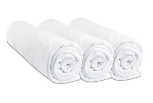 Lot de 3 draps housse coton - 60x120 cm Couleur - Blanc