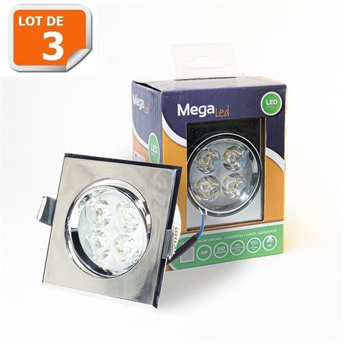 Lot 3 Spots encastrables LED amovibles Argenté 5W - Equivalent 50W - Mega Led CLISS50W