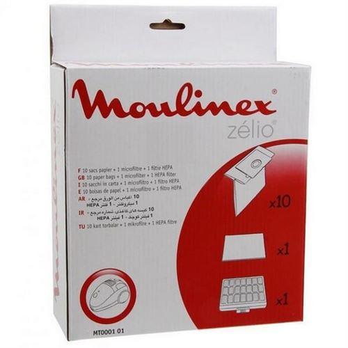 Sacs aspirateur zelio par 10 + filtres pour Aspirateur Moulinex