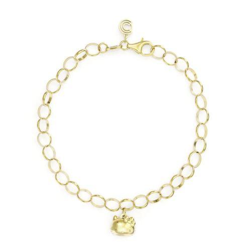 Bonjour plaqué or 18 carats Kitty Vermeil Charm Bracelet unique