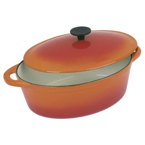 Crealys Grand Chef Cocotte Ovale En Fonte Dacier Emaillee - L 37 Cm - 9 L - Orange - Tous Feux Dont Induction