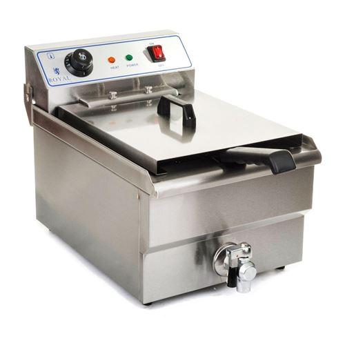 Friteuse acier inox 1 bac 10 litres cuve et resistance amovible robinet vidange professionnelle
