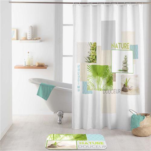 rideau de douche +crochets 180 x 200 cm polyester Nature douceur