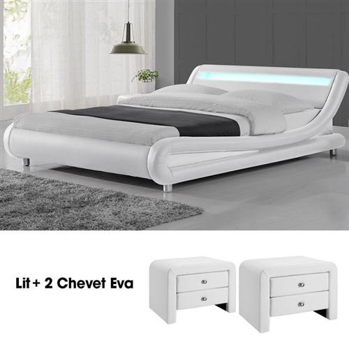 Lit design Julio160 avec 2 tables chevet EVA blanc