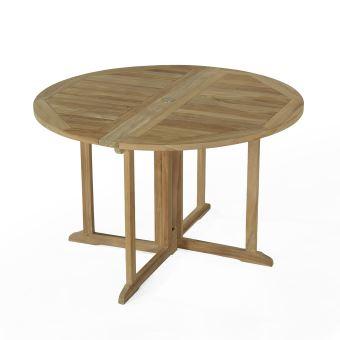 Table pliante ronde en teck Ecograde Domingue ø 120 cm - Mobilier de ...