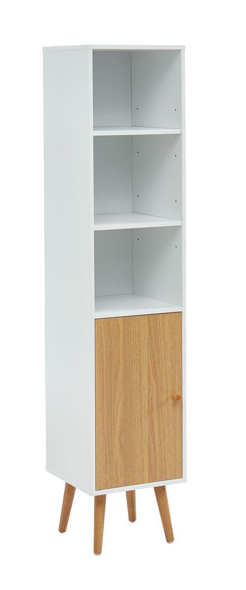 Colonne de rangement pour salle de bain coloris blanc / chêne - 30 x 29.5 x 139 cm -PEGANE-