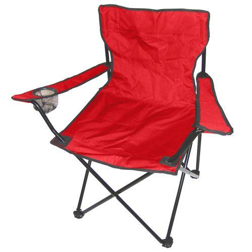 Chaise de Camping Pliable avec Porte Boisson et Sac de transport Rouge/Noir 50*50*80 cm