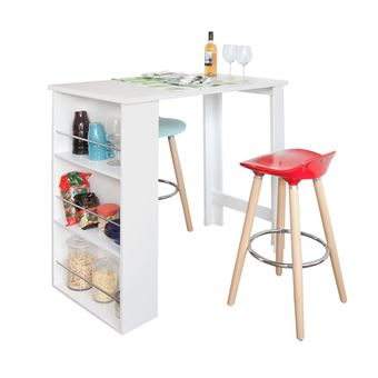sobuy table haute de bar mange debout cuisine avec rangements blanc fwt17 w fr achat prix. Black Bedroom Furniture Sets. Home Design Ideas