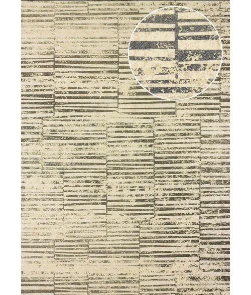 Papier peint à rayures Atlas 24C-6505-4 papier peint intissé lisse avec un dessin graphique et des accents métalliques beige brun ivoire argent 7,035 m2