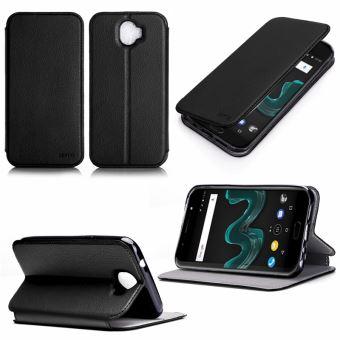Etui Wiko WIM LITE 4G noir luxe Ultra Slim Cuir Style avec stand - Housse Folio Flip Cover coque de protection smartphone Wiko WIM Lite 5 pouces noire ...