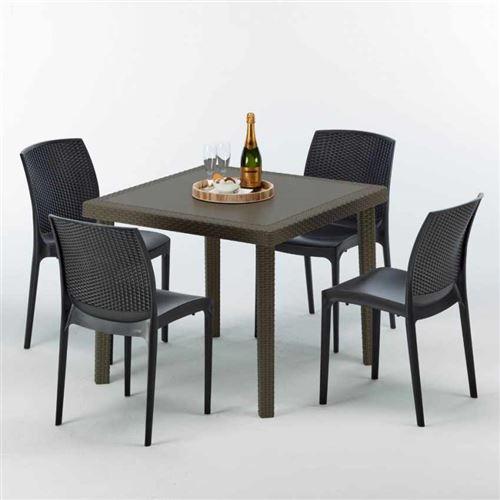 Table carrée et 4 chaises colorées Poly-rotin résine 90x90 marron, Chaises Modèle: Boheme Anthracite noir