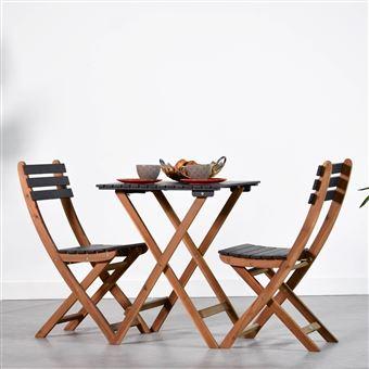Table de jardin 60x60cm - Barcelona Bois / Noir Alice\'s Garden ...