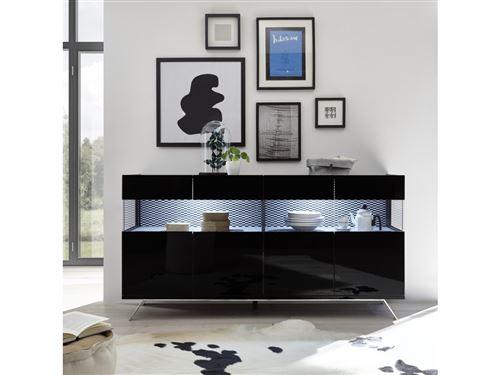 SUBLEEM Buffet 4 portes Enna noir laqué brillantavec tissu noir et blanc