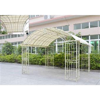 L\'Héritier Du Temps - Grande tonnelle couverte kiosque de jardin pergola  abris rectangle en fer forgé blanc 280x305x405cm