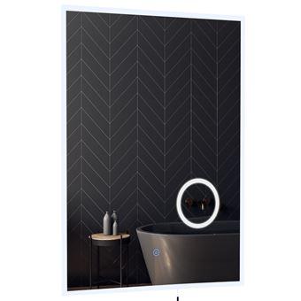 Miroir lumineux LED grossissant de salle de bain 65 W interrupteur tactile  60L x 80H cm