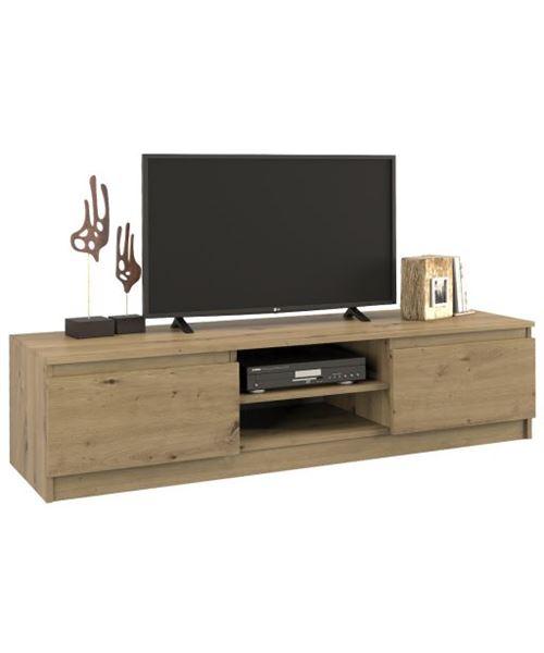 TIVOLI | Meuble bas TV contemporain 40x140x36 salon/séjour 2 niches 2 portes | Rangement moderne matériel télé/audio/video/gaming | Chêne Artisan