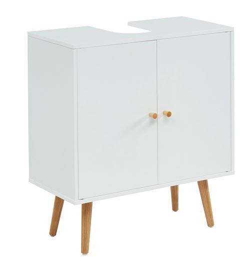 Meuble sous vasque pour salle de bain coloris blanc - 60 x 29.5 x 65 cm -PEGANE-