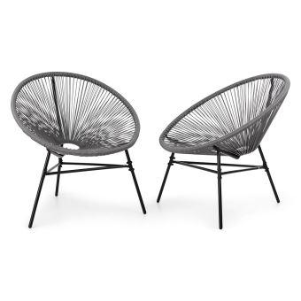 Blumfeldt Las Brisas Chairs Lot de 2 Fauteuils au design rétro pour ...