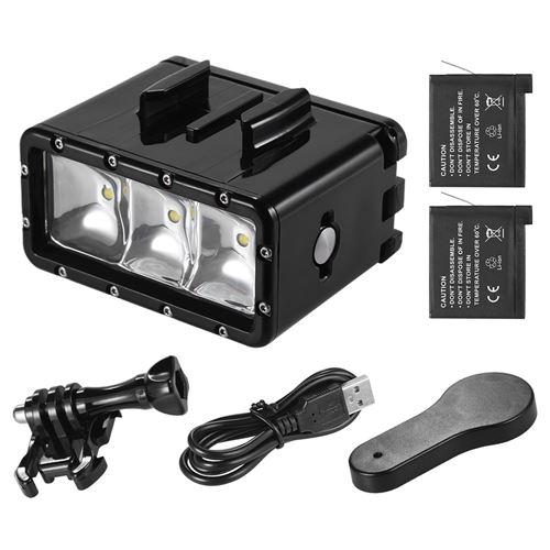 2 Camescope Sport Etanche Remplir Andoer D'action Avec Lampe 3pcs Gopro 30m Lumière Hero Piles Rechargeables1160mah2Pour Caméra Plongée Led LARj45