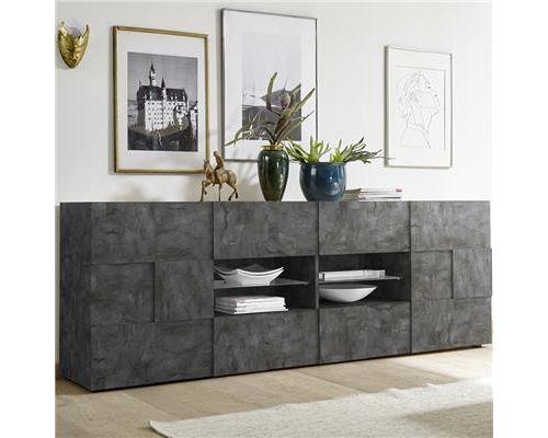 Enfilade 2 portes et 4 tiroirs anthracite SANDREA 5 - L 241 x P 42 x H 84 cm