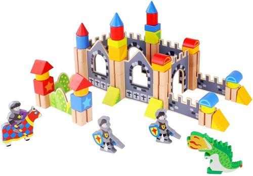 Tooky Toy jeu de blocs Chevaliers et châteaux junior en bois 60 pièces