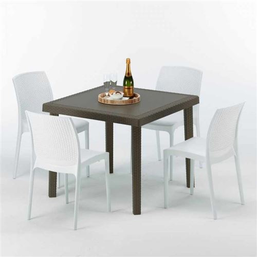 Table carrée et 4 chaises colorées Poly-rotin résine 90x90 marron, Chaises Modèle: Boheme Blanc