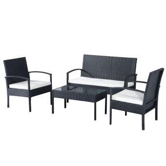 144€90 sur Ensemble salon de jardin 4 places : canapé, 2 fauteuils ...