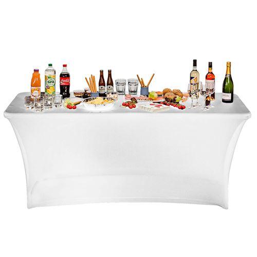 Housse nappe table pliante 180cm blanche