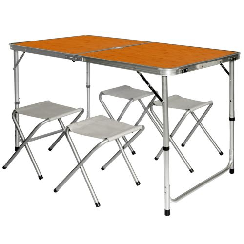 AMANKA Table de Camping pliable réglable en hauteur 120x60x70cm incl 4 Tabourets pliants format mall