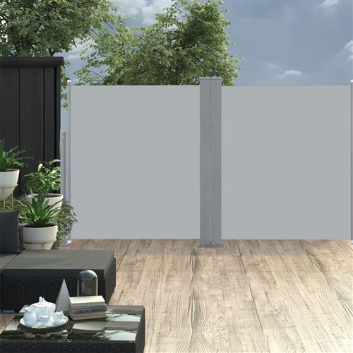 Auvent latéral double rétractable de patio 170x600cm Anthracite