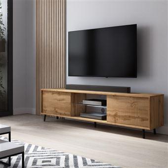 Meuble Tv Meuble De Salon Lefyr 140 Cm Chene Wotan Grande Capacite De Rangement Eclairage Led Meuble Tv Achat Prix Fnac