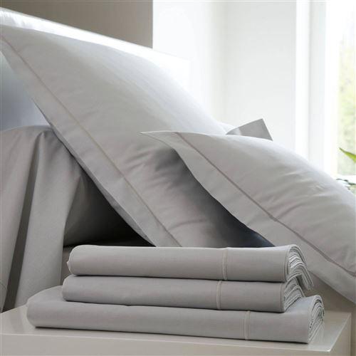 Taie d'oreiller Coton BLANC DES VOSGES - Perle - 65 x 65 cm