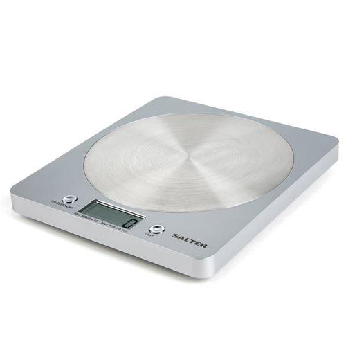 Balances numériques de cuisine Salter - Appareil de cuisson électronique de précision pour la maison, pèse les aliments jusqu'à 5 kg Aquatronique pour liquides ml et fl. Oz. Garantie 15 ans – Argent