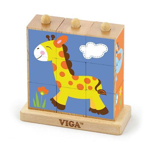 Puzzle cubes en bois jeu logique Animaux Sauvages bébé enfant 2ans+ 9 pièces