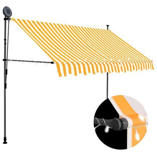 Auvent manuel rétractable avec LED 250 cm - Blanc et orange