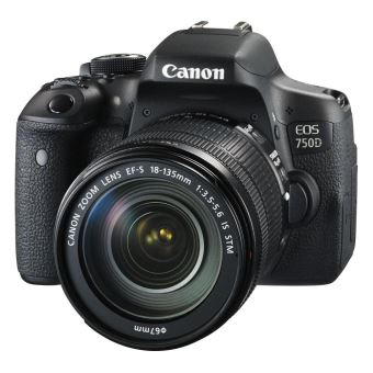 Canon EOS 750D - Digitale camera - SLR - 24.2 MP - APS-C - 1080p - 7.5x optische zoom EF-S 18-135mm IS STM lens - Wi-Fi, NFC