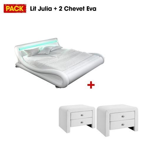 Lit design Julia 140 avec 2 tables de chevet blanc