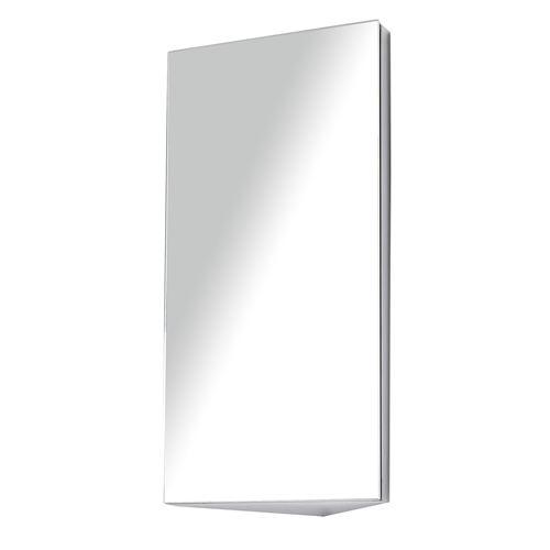 Armoire miroir rangement toilette salle de bain meuble mural d'angle 60 x 30 x 18,4 cm acier inoxydable