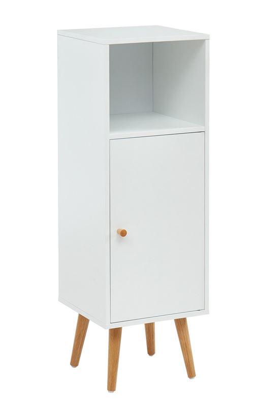 Colonne de rangement salle de bain coloris blanc - 30 x 29.5 x 90 cm -PEGANE-