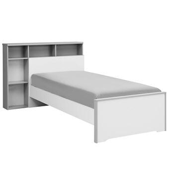 Lit BlancGris Cm Sa Tête De Lit Tiroir JEWEL Achat - Tete de lit tiroir