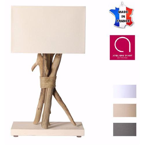 Lampe à poser artisanale en bois flotté naturel - Personnalisable - Fabriquée à la main en France - Blanc avec personnalisation - 25
