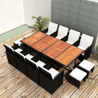 Salon de jardin Jeu de salle à manger d\'extérieur 33 pcs Rotin synthétique  Noir