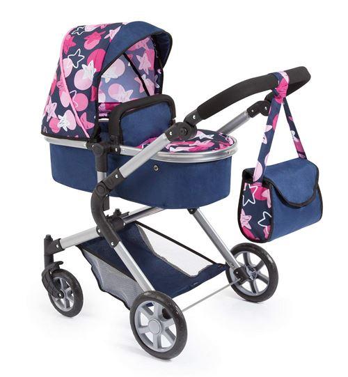 Bayer Design 18169AA Landau pour poupée City Neo avec un sac à bandoulière et un panier, convertible en une poussette, Bleue avec des étoiles Roses