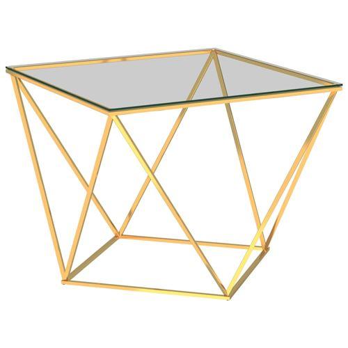 Table basse 80x80x45cm Acier inoxydable Doré