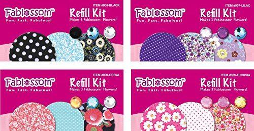 Fablossom Kit de recharge en tissu Craft 4 Pack B - Donne 12 créations de tissu