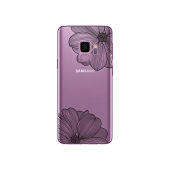 Coque transparente souple et solide anti choc avec impression de qualité (Fleur Noire) pour Samsung Galaxy S9 / S9 Plus