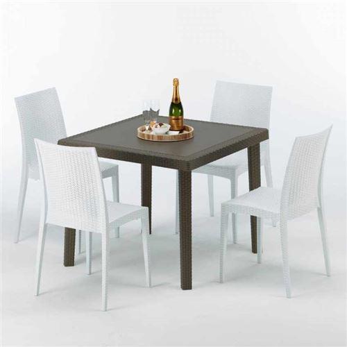 Table carrée et 4 chaises colorées Poly-rotin résine 90x90 marron, Chaises Modèle: Bistrot Blanc