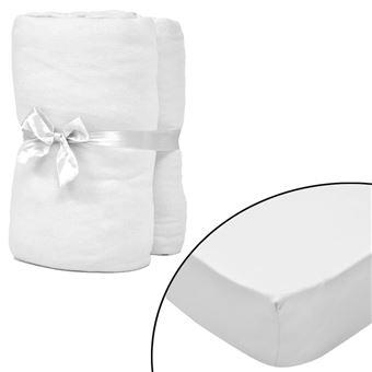 linge de lit 120 x 200 vidaXL 2 draps housses blancs en coton jersey Literie Linge de lit  linge de lit 120 x 200