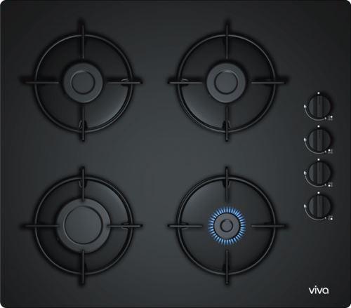 Viva VVG6B4P60 - Table de cuisson au gaz - 4 plaques de cuisson - Niche - largeur : 56 cm - profondeur : 48 cm - noir